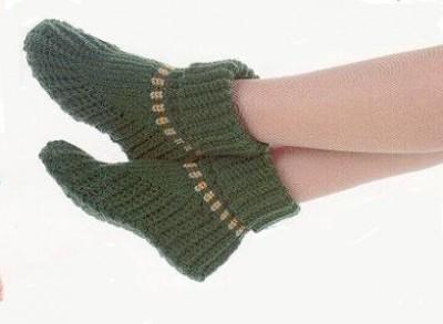 Вязание носков , тапочек на двух спицах